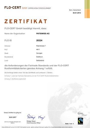 FLO-CERT GmbH bestätigt hiermit, dass: 20324 FLO ... - Patiswiss AG