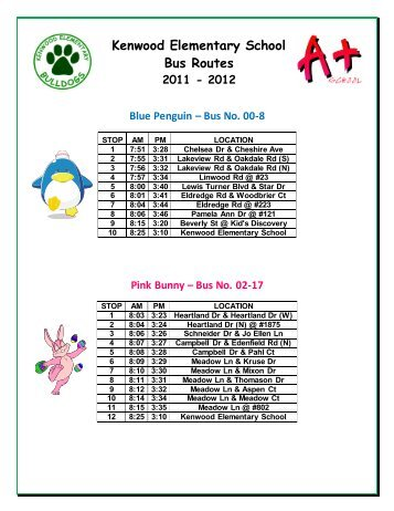 Kenwood Elementary School Bus Routes