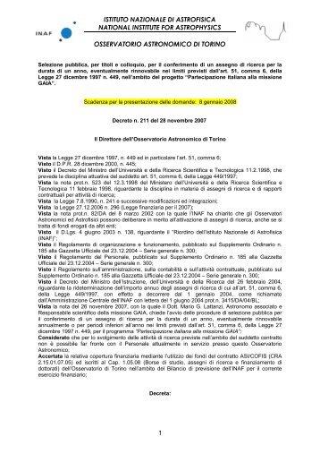 Carta lettereINAF-OATO - Osservatorio Astronomico di Torino