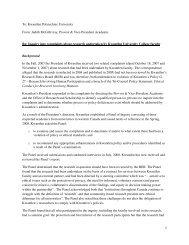 Judith McGillivray, Provost & Vice-President Academic Re: Inquiry ...