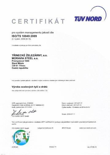 Certifikát ISO/TS 16949:2009 ve formátu pdf - Třinecké železárny