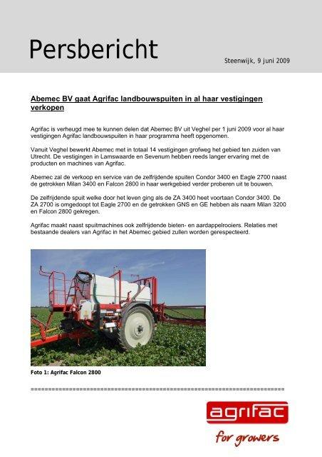 Persbericht Agrifac - Abemec