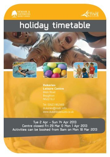 holiday timetable - Newark and Sherwood District Council