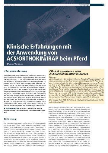 Klinische Erfahrungen mit der Anwendung von ACS/ORTHOKIN ...