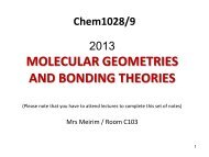 Molecular Geometry - Wits Structural Chemistry