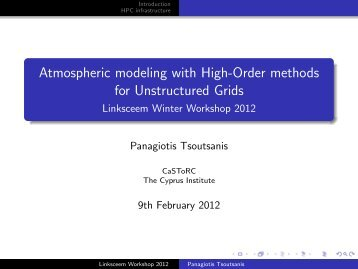 Atmospheric modelling using higher order methods - LinkSCEEM