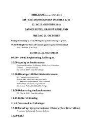distriktskonferansen distrikt 2305 22. 0g 23. oktober 2011 sanner ...