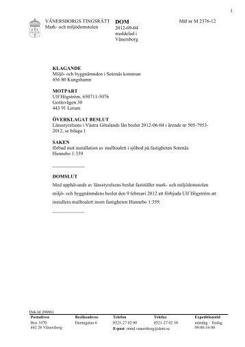 VÄNERSBORGS TINGSRÄTT Mark- och miljödomstolen 2012-09 ...
