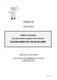 d'AUXILIAIRE DE VIE SCOLAIRE - Inspection académique du ...