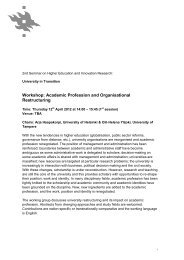 Workshop: Academic Profession and Organisational Restructuring