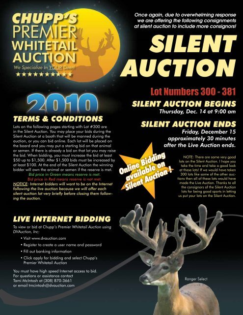 Silent Auction Catalog - Whitetail Deer Farmer