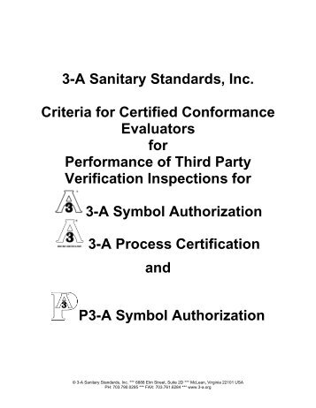 Criteria for Certified Conformance Evaluators - 3-A Sanitary Standards