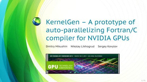 KernelGen - GPU Technology Conference