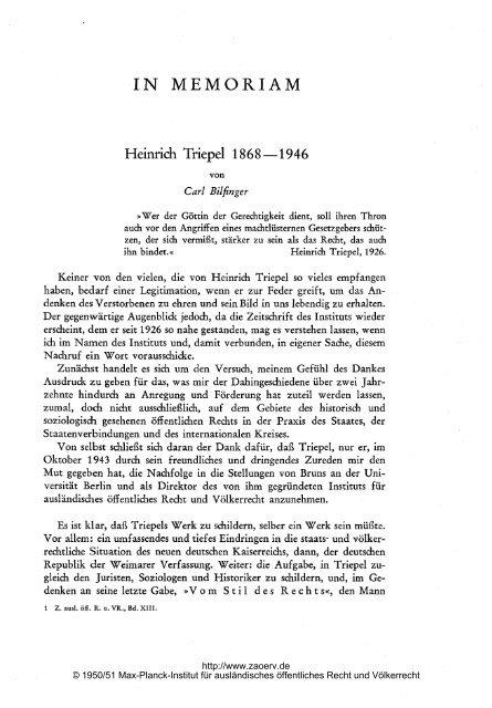 Heinrich Triepel - Zeitschrift für ausländisches öffentliches Recht ...