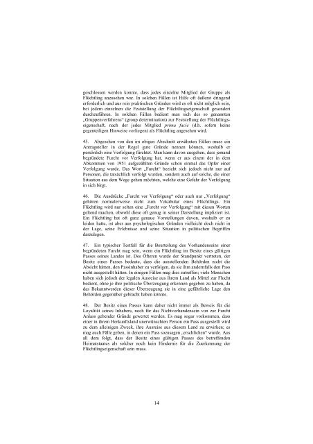 Handbuch über Verfahren und Kriterien zur Feststellung ... - UNHCR