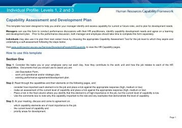 Human Resources Capability Framework Assessment Levels 1-3