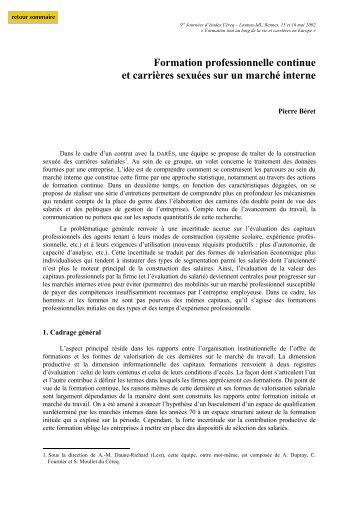 Pierre Béret - Centre d'études et de recherches sur les qualifications