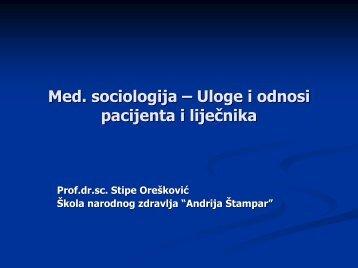 """Liječnik - pacijent - Škola narodnog zdravlja """"Andrija Štampar"""""""