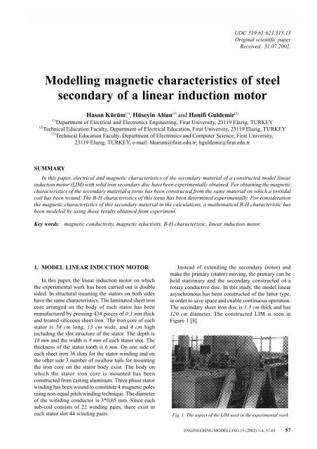 Modelling magnetic characteristics of steel secondary of a linear ...
