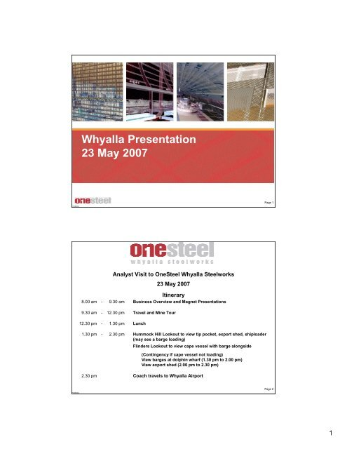 Whyalla Presentation 23 May 2007 - OneSteel