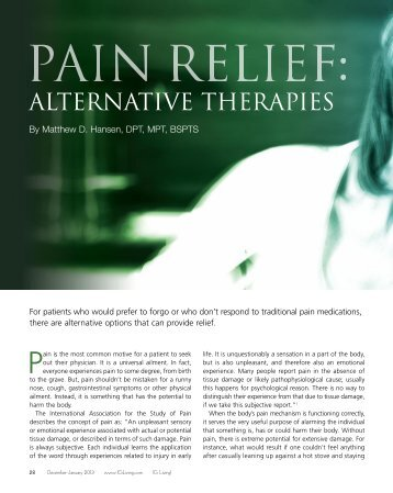 Pain Relief: Alternative Therapies - IG Living