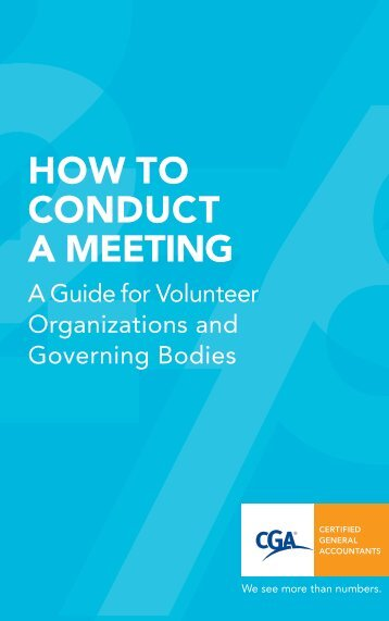 How to Conduct a Meeting - Certified General Accountants of Ontario