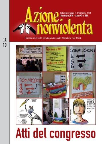 Dicembre 2010 - Anno 47 n. 564 - Movimento Nonviolento