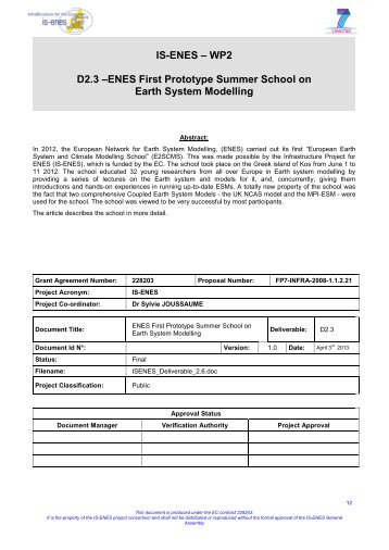 ENES First Prototype Summer School on Earth System ... - IS-ENES