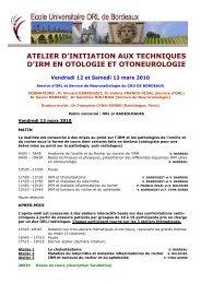 Programme Atelier IRM en Otoneurologie - SNORL