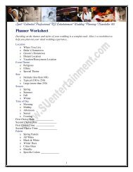 Planner Worksheet - Spirit Unlimited Professional DJ Entertainment