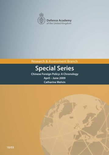 Chinese Foreign Policy: A Chronology April - June 2009 - Defence ...