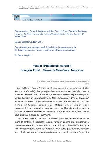 Penser l'Histoire en historien François Furet - Lycée Chateaubriand