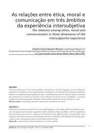 As relações entre ética, moral e comunicação em três âmbitos da ...