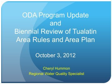 October 2012 Update on Tualatin Agriculature Water Quality Area ...