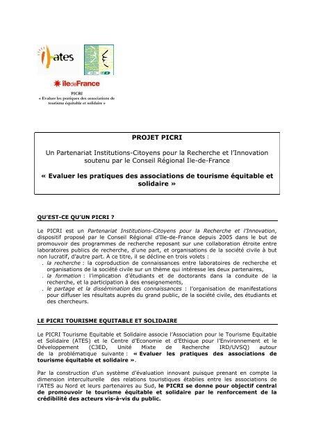 Projet PICRI - Cités Unies France