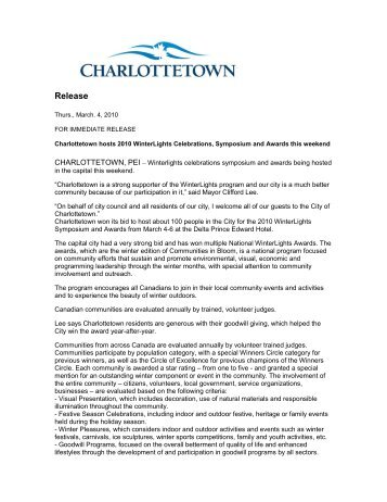 News Release - City of Charlottetown
