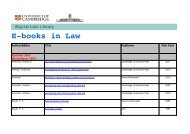 Ebooks in Law - Faculty of Law