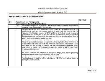 MQA-03 Document– Area 5 - Al-Madinah International University