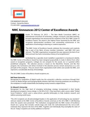 Download the PDF of the press release. - The New Media Consortium