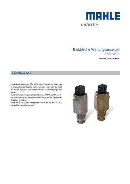 Elektrische Wartungsanzeiger PiS 3200 - MAHLE Industry - Filtration