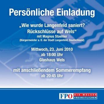 """Persönliche Einladung """"Wie wurde Langenfeld saniert ... - FPÖ Wels"""