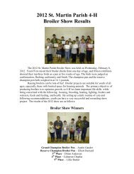 2012 St. Martin Parish 4-H Broiler Show Results - The LSU AgCenter