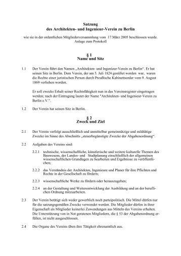 Satzung als PDF - Architekten- und Ingenieur-Verein zu Berlin eV