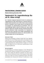 Spatenstich für Jugendherberge Ba- sel St. Alban erfolgt