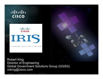 Internet Routing in Space (IRIS) - CCSDS