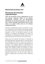 Medienmitteilung Oktober 2010 Wechsel bei den Schweizer ...