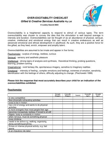 OVER-EXCITABILITY CHECKLIST Gifted & Creative Services ...