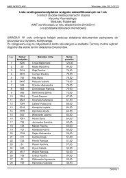 Lista rankingowa kandydatów wstępnie zakwalifikowanych na I rok ...