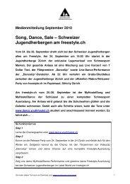 Medienmitteilung September 2010 Song, Dance, Sale – Schweizer ...
