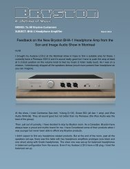 Feedback on the New Bryston BHA-1 Headphone Amp from the Son ...